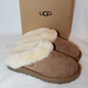 UGG CLUGGETTE SUEDE SHEARLING SLIDE SLIPPERS NEW
